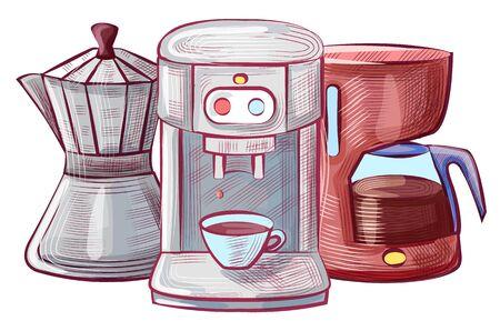 Macchinari per la produzione di bevande al caffè, schizzi di tazza con bevanda, caffettiera e caffettiera. Macchina per pentole in vetro con bottoni e tazza stile piatto Vettoriali