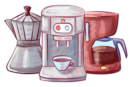 Machinery for making coffee beverage vector, sketches of cup with drink, moka pot and coffeemaker. Glass pot machine with buttons and mug flat style