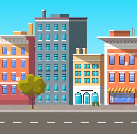 City street vector, empty town with old houses and buildings with fancy rooftops. Urban area residential constructions, skyscrapers and tree decor. Cityscape with houses facades. Flat cartoon Illusztráció