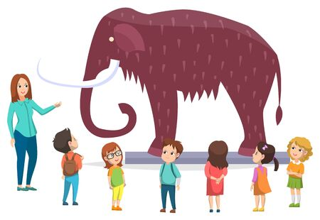 Schoolkids in natural history museum. Exhibition with mammoth with fur and big tusk and trunk. Guide share information about prehistoric mammal. Flat cartoon vector illustration