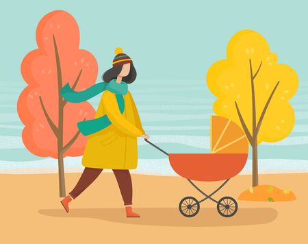 Frau, die mit Kinderwagen im Herbstpark schlendert. Mutter kümmert sich um ihr Kind im orangefarbenen Wagen. Wandern im Wald, Wald oder Rasen. Bäume mit gelben Blättern und Laub, Herbstwetterillustration