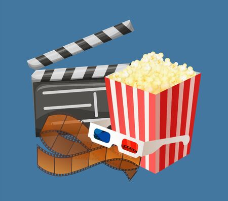 Popcorn snack in package, movie clapperboard with date and time of filming, special glasses for watching 3d films in cinema halls isolated. Vector illustration in flat cartoon style Vektorové ilustrace