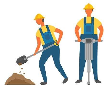 Workers digging and drilling ground, construction works. Men in hardhats and overalls, building process, spade or shovel, electric instrument. Vector illustration in flat cartoon style Vectores