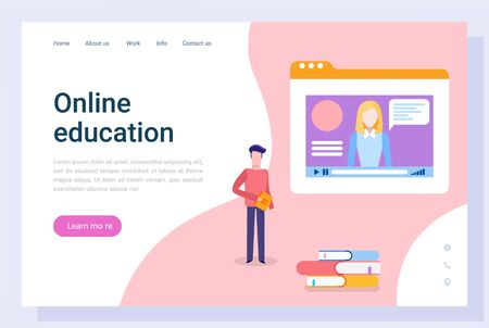 Online education vector, student looking educational courses of tutor. Woman explaining subject details, female with books and information. Website or webpage template, landing page flat style
