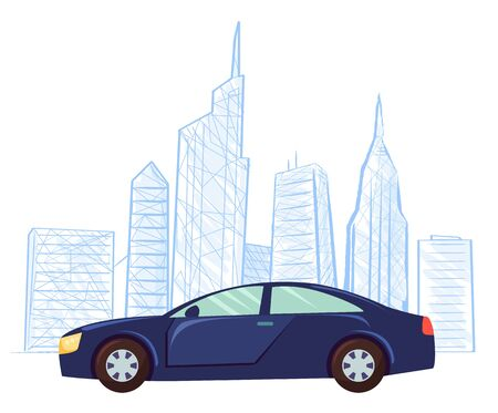 Modern car vector, cityscape colorless outline and vehicle transport. Automobile in city, skyline with skyscrapers and high buildings flat style town