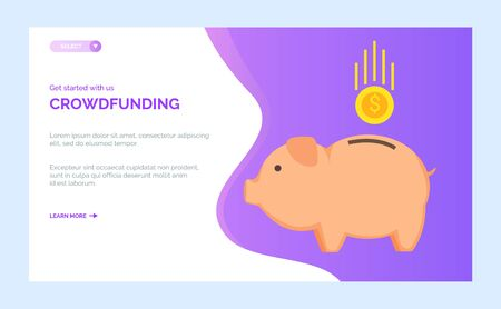 Crowdfunding charity project with piggy bank and golden coin falling. Vector donation or support in public organization, fundraising investment. Website or webpage template, landing page flat style