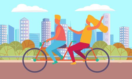 Couple cycling in city, girlfriend and boyfriend driving near buildings. People on bicycle outdoor, man and woman activity, lovers biking on street. Vector illustration in flat cartoon style Иллюстрация