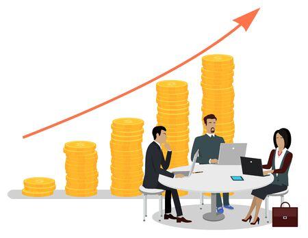 Gente de negocios sentada alrededor de la mesa con computadoras portátiles y gadgets y trabajando, gráfico de flecha roja creciente y pila de monedas en el fondo, concepto de inversiones. Ilustración de vector de estilo de dibujos animados plana