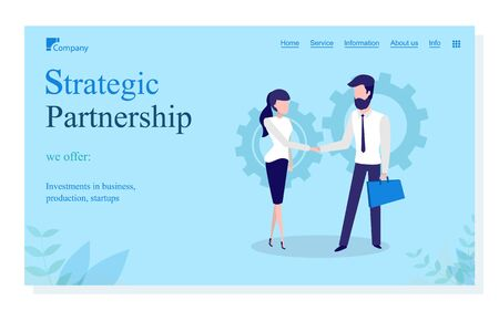 Strategic partnership vector, man and woman handshake of people. Person agreeing on contract, businessman and businesswoman on conference. Website or webpage template, landing page flat style