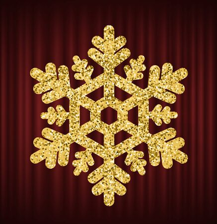 Shining snowflake made of gold vector, isolated luxurious decor element. Merry christmas icon, decorative object on red curtain. Ornament of flake. Red curtain theater background Illustration