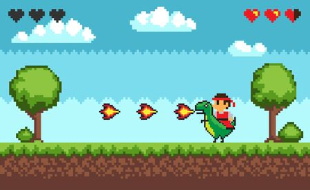 Computer pixel game interface, personage cavalier saddle astride a dinosaur with fire, 8 bit portrait view of fight characters, hero battle in video-game. Pixelated ground with grass, clouds at sky