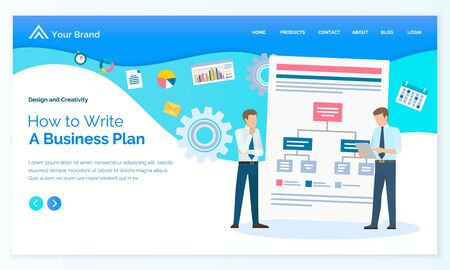Businessman creating plan, worker discussing, scheme strategy, diagram and set icon. Employees cooperation, brainstorming idea vector. Landing page or app slider in flat design style, webpage template Ilustração