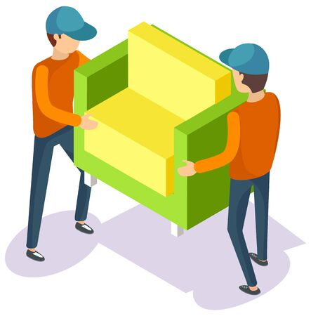 Delivery service workers wearing uniform moving armchair. Porters in workwear carrying furniture piece. Relocation and transportation vector illustration in 3d isometric style