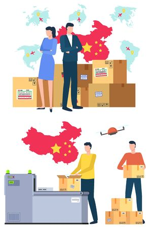 International business, parcel, cardboard boxes, delivery services workers. Commerce logistics, distribution from China. Produce in China and worldwide delivery. China map and flag. Vector flat style