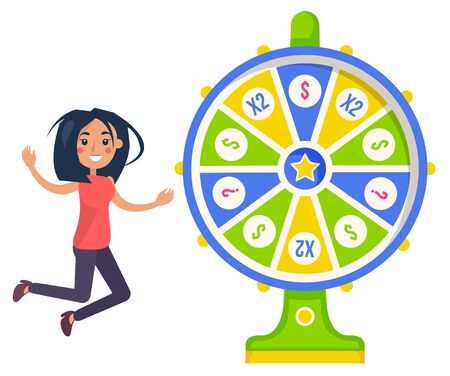 Gambling, fortune wheel and casino, lucky girl. Score and win, easy earning, profit or jackpot, stake or bet, luck and risk, lottery money game. Vector illustration in flat cartoon style Standard-Bild - 132849961