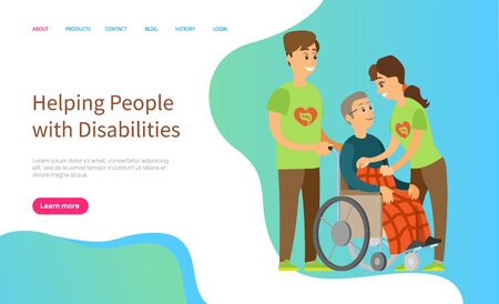 Helping people with disabilities vector, man and woman caring for person sitting in wheelchair, character covered with warm blanket volunteers. Website or slider app, landing page flat style Archivio Fotografico - 132849823