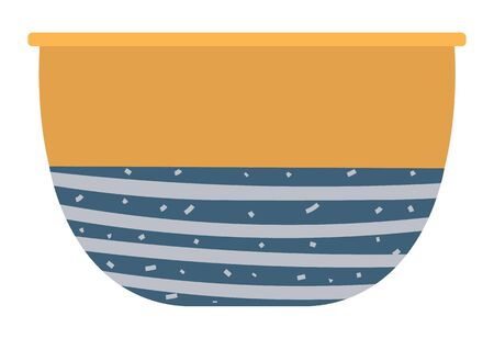 Clay bowl ceramic dishware, pattern of blue color on pot. Isolated handicraft soup plate decorated by lines. Pottery plate, homemade or rustic utensil. Vector illustration in flat cartoon style