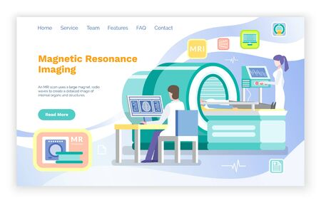 Magnetic resonance imaging vector, cr or mri help for patients. Nurse assistant and doctor sitting by computer looking at scan x ray result. Website or webpage template, landing page flat style Ilustracja