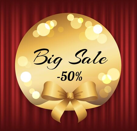 Hot price, big sale, best offer vector, isolated offer badge with proposition flat style. Red curtain theater background for label or sticker, shop or store holidays sale deals and clearance