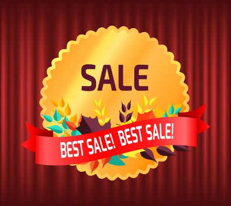 Sale in autumn vector, autumnal discounts banner with foliage and text. Deal promotion and lowering of prices, guarantee of best production quality. Red curtain theater background Ilustrace