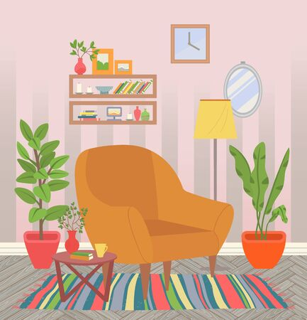 Room interior, empty home with carpet and armchair, houseplant growing in pots. Coffee table with vase and flower, shelves with books and candles. Vector illustration in flat cartoon style