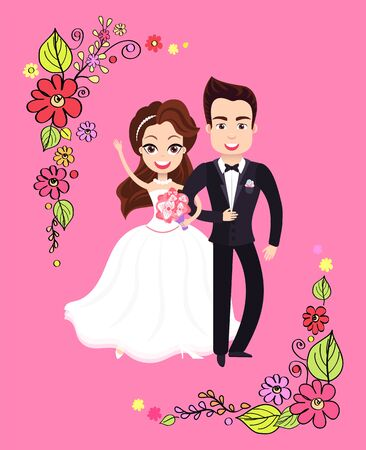 Bride standing and embracing groom, newlyweds characters, wedding postcard with couple, romantic invitation decorated by frame from flowers. Vector illustration in flat cartoon style Иллюстрация