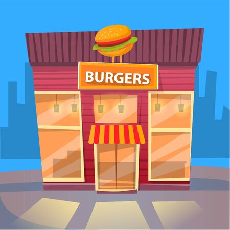Burger house in city, night cityscape with exterior of building selling fast food and snacks. Eatery diner with meals and dishes to have dinner. Vector illustration in flat cartoon style Vettoriali