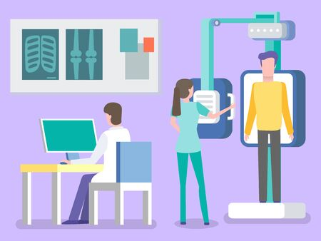 Fluorography and xray scanning of patient, isolated doctor and nurse. Man working on laptop, ribs and bones diagnostics of diseases, assistant. Vector illustration in flat cartoon style