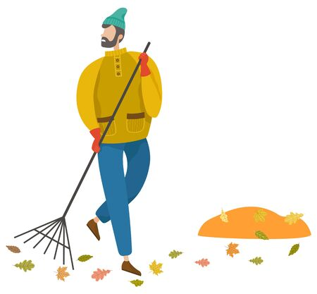 Man sweeping foliage on outdoor territory using broom illustration. Worker in warm clothes and gloves. Orange leaves falling from trees, fall weather vector. Janitor working alone, flat style