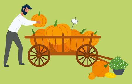 Autumn harvest, man and pumpkins in wheelbarrow vector. Vegetables in wooden carriage, market and vendor, selling farm food, organic nutrition and farming. Pumpkin for Hallowen