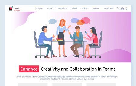Vecteur de réunion d'affaires, discussion des travailleurs avec le projet d'idée principale du patron. Les gens au travail assis par table faisant plus, processus de remue-méninges. Modèle de site Web ou de page Web, style plat de page de destination Vecteurs