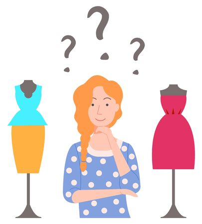 Female character choosing clothes, isolated woman with question marks above head. Lady in boutique for girls, evening dress and costume blouse and skirt. Vector illustration in flat cartoon style 일러스트