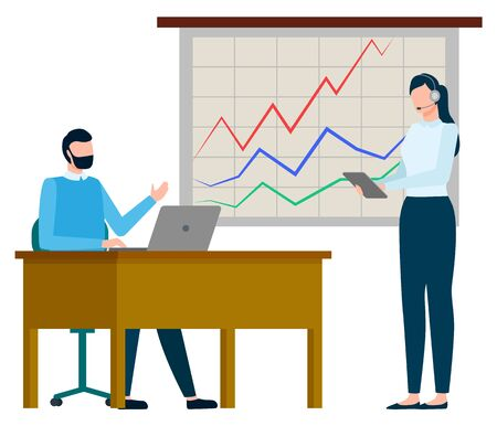 Man and woman workers discussing graph report, international business and growth chart. Employee working with wireless device, presentation icon. Vector illustration in flat cartoon style