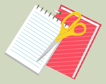 Office and school set of stationery as scissors and notebook. Scissors to cut paper and divide into pieces. Notebook to make notes vector illustration. Back to school concept. Flat cartoon