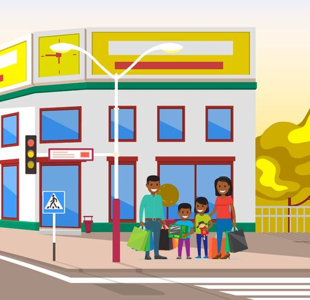 People waiting for green light to cross road, family father mother and kid. Cityscape with parents and children, citizens of town house and park. Vector illustration in flat cartoon style Banque d'images - 132852276