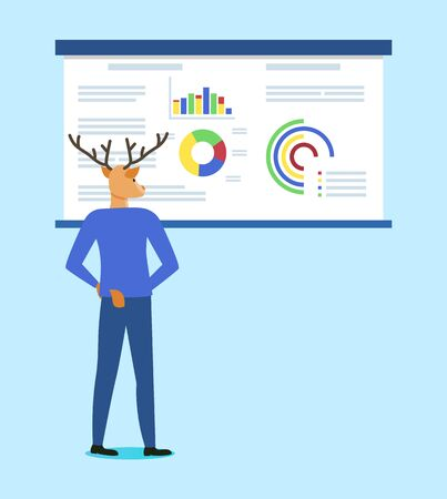 Hipster animal, deer brainstorming looking at whiteboard with info presented in visual form, businessman wearing suit deep in his thoughts. Vector illustration in flat cartoon style 일러스트