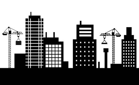 Construction of new buildings vector, megapolis expanding cranes with materials for new estates silhouette of cityscape. Skyline of small town flat style Vector Illustration