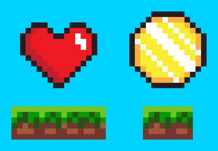 Pixel game elements, coin and heart in color. Flat style of 8 bit graphics icons, animation video games money and life symbol, wealth point sign. Pixel-art vector, pixelated 8 bit game objects