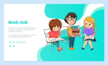 Reading club for children. Girl in glasses holding pile of books. Kids discussing literature. Back to school concept. Flat cartoon vector illustration 向量圖像