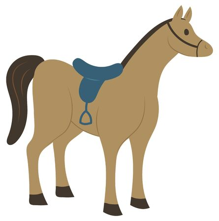 Horse mammal vector, isolated animal with seat for rider. Flat style mane standing and looking at side, stallion strong pet from farm equestrian sports
