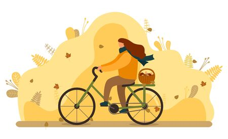 Woman riding bicycle in autumn forest vector. Girl going home after gathering mushrooms, lot of boletus in wooden basket. Person cycling bike, illustration with yellow leaves. Mushrooming season