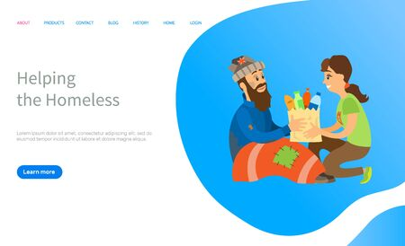 Helping to homeless, woman volunteer giving products to beggar man, charity online for vagabond, poor people, social volunteering, share vector. Website or slider app, landing page flat style