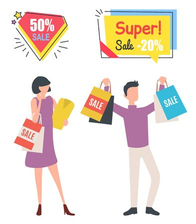 Man and woman holding purchases, super sale. People buying clothes old collection, shopper with packages, discount and promotion on Black friday sale, buyer vector. Business sale stikers. Flat cartoon