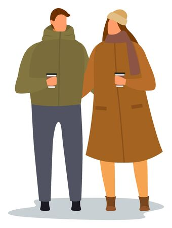 Man and woman walking with cups in hands together vector. Couple drinking coffee illustration, love relationship. People in warm clothes, flat style picture. Dating of two adults outdoor in autumn Иллюстрация