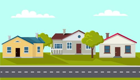 Tranquil town with few buildings, calm city with trees and greenery, nature and lawns by estates. Hometown with relaxing atmosphere. Vector illustration in flat cartoon style