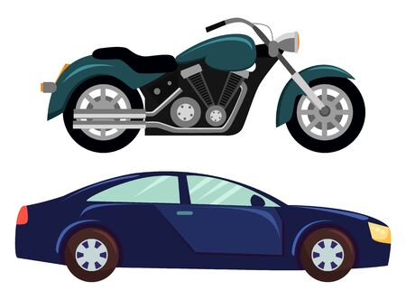 Sport car isolated transportation. Vehicle transport of cool modern type and shape. Motorbike and bike with seat, lorry. Buy new car and moto bike. Vector illustration in flat cartoon style Stock Vector - 132872736