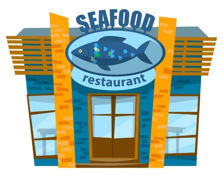 Seafood restaurant or cafe, logotype with fish on it. Brick building for business, cafe serving marine food. Facade exterior design of seafood cafeteria, nautical cuisine dishes, vector flat style