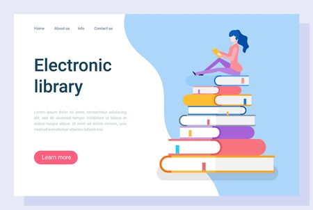 Electronic library vector, woman preparing for exam in university. Reader with books and information in printed materials learning new data. Website or webpage template, landing page flat style