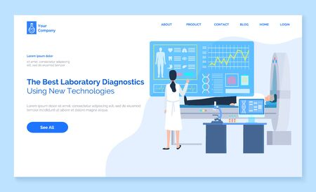 Laboratory diagnostics, using new technologies, patient lying, cardiogram equipment, standing assistant or doctor near screen of health report, computer tomografy CT, magnetic resonance imaging MRI