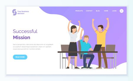 Successful mission, man and woman with rising hands, company leadership. People communication with laptop, teamwork cooperation, community vector. Website or app slider template, webpage in flat style